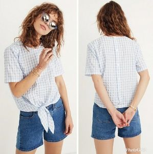 Madewell Button Back Gingham Check Top
